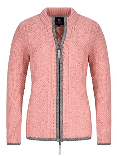 Almbock Trachten Janker Damen - Hochwertige Strickjacke Damen - Strickjacke Damen Rosa aus feiner Wolle in Altrosa Gr. M
