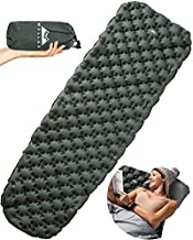 WellaX Ultralight Air Sleeping Pad - Inflatable Camping Mat for Backpacking, Traveling and Hiking Air Cell Design for Better Stability & Support -Plus Repair Kit - Green