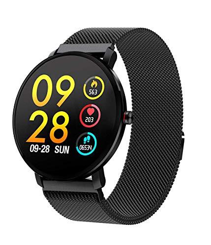 Muanser IP68 Waterdichte Smart Horloge Bluetooth Fitness Activiteit Tracker met Weerbericht Stappenteller Sociale APP Oproepen Herinnering voor Vrouwen Mannen Compatibel Android iOS