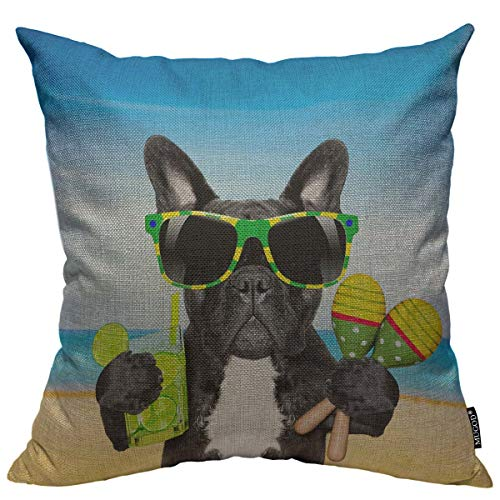 Mugod Cool Dog Throw Pillow Cover Brazil French Bulldog Dog for Sunglasses Enjoying a Cocktail at Beach on Summer Decorative Square Pillow Case for Home Bedroom Living Room Cushion Cover 18x18 Inch