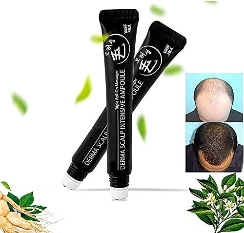 Siero Per La Crescita Dei Capelli Roll-On Intenso Del Cuoio Capelluto, Triple Roll-On Massager Hair Growth Essence, Siero Reattivo Per Capelli Con Massaggio a Sfera a Base Di Erbe. (2pcs)