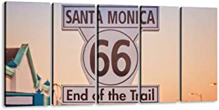 historic route 66 sign at santa monica california navigations and 5 Pieces Canvas Prints Wall Art Paintings Modern Abstract Geometry Wall Pictures for Living Room Bedroom Decoration Wall Posters