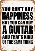 家の装飾-あなたは幸福を買うことはできませんが、あなたはギターを買うことができます。コーヒーショップバークラブのためのインチヴィンテージメタルティンサインプレート壁の装飾プラーク