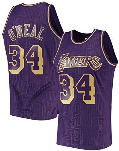 ZMIN Jerseys de Baloncesto para Hombres O'Neal Lakers # 34, 90s Ropa de Hip Hop para la Fiesta de Jersey, Halloween y Vida Diaria,L 175~180cm
