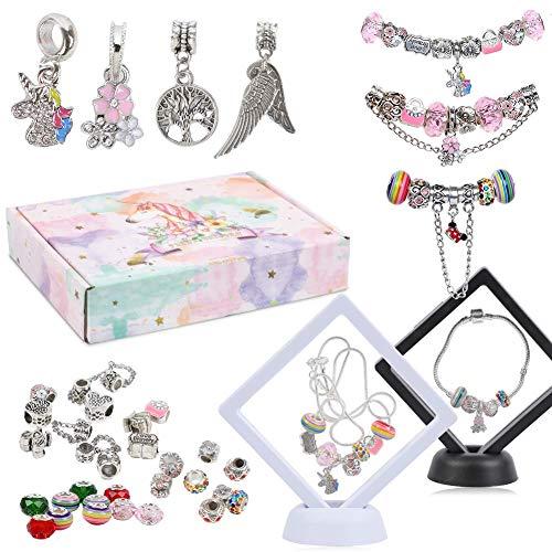 40 Pcs DIY Charm Bracelet Making Kit, Bead Pendant Bracelet Necklace Display Case with Gift Box Jewelry Craft Supplies Birthday Set for Kids Girls Teens Woman
