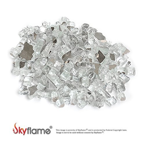 Skyflame 10-Pound Fire Glass for Fireplace Fire Pit and Landscaping, Platinum Reflective, 1/2-Inch