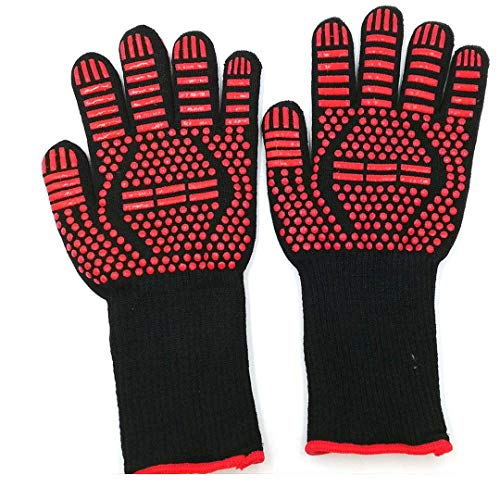 ACOMOO Barbecue Gloves 800℃/1472℉ Very high Temperature Resistant Barbecue Gloves with Finger Non-Slip Oven Gloves, Used for Barbecue, Barbecue, Cooking, Baking Outdoor Cooking Gloves 1 Pair (red2)