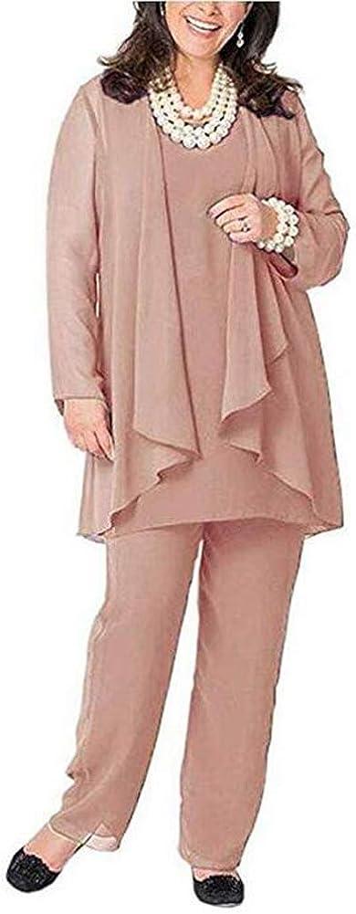 Women Chiffon 3 Pieces Mother of The Bride Pant Suits Long Sleeve Dress Party Outfits Pantsuits Plus Size Plus Size