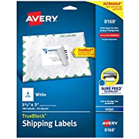 Avery 発送住所ラベル インクジェットプリンター 100ラベル 3-1/2 x 5インチ 永久接着剤 ホワイト 5パック (8168)