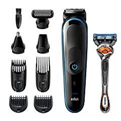 Rechargeable all-in-one wet & Dry trimmer with unprecedented cutting performance vs. Previous generations of braun beard trimmers 9-In-1 trimmer for beard, face, hair, body, ear and nose trimming, and a free Gillette Fusion5 ProGlide razor for clean ...