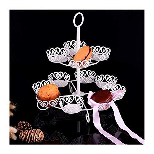 JISHIYU Multi-capa de metal soporte del árbol de la magdalena tiene múltiple Torta del postre de la torre soporte de la torta del soporte de exhibición y la placa de la fruta en relieve Vajilla por la