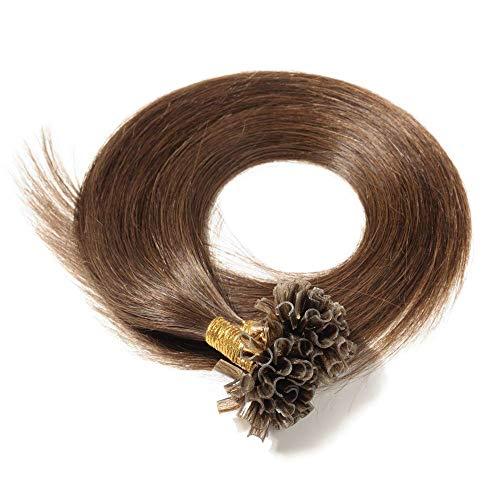Extensions Echthaar Bondings Remy Haarverlängerung U-Tip 200 Strähnen Keratin Human Hair 100g-55cm(#4 Schokobraun)