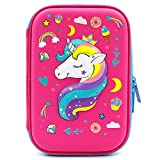 SOOCUTE Crown Unicorn Gifts for Girls - Cute Big Size Hardtop Pencil Case with Compartment - Kids School Supply Organizer Stationery Box Zipper Pouch (Hot Pink)