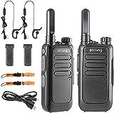 pofung Funkgerät Walkie Talkie 2X, PMR446 1500 mAh 16 Kanäle 6 km Reichweite Wiederaufladbarer Funkempfang, mit wiederaufladbarer Taschenlampe (2 Stück)