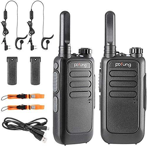 Walkie Talkie Recargable PMR Radio 16 Canales Batería 1500mAh Talkie walkie UHF Radio Portátil con Auriculares (T15)