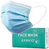 axhkio mascherine monouso 50pezzi, mascherine per viso maschere traspiranti e confortevoli 3 strati maschera monouso prevenire polvere e gocce nell'aria
