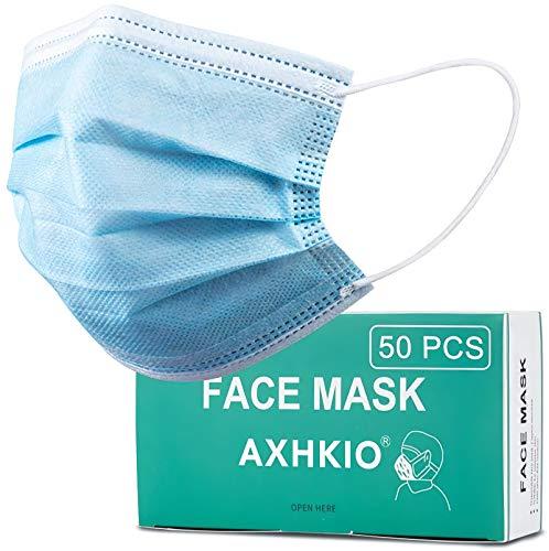AXHKIO 50 Stück 3-lagige Einwegmasken, Atemschutzmasken Gesichtsmaske mit Ohrschlaufen, Atmungsaktive Ohrmuschel-Gesichtsmaske,3 Schichten Masken