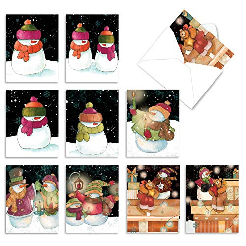 Price comparison product image The Best Card Company - 10 Snowman Christmas Cards Boxed - Cute Snowmen Greetings,  Kids Holiday Card Assortment (4 x 5.12 Inch) - Snow Pals M6657SGG