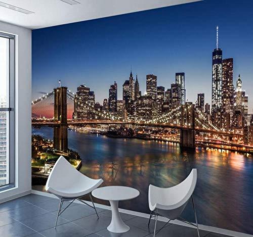 3D vliesbehang fotovliesbehang premium fotobehang behang voor winters 3 D woonkamer slaapkamer behang Nyc skyline stad gebouw achtergrond cafe behang 300*210 300 x 210 cm.