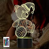 Bear Gifts 3D Night Light, Coopark Optical Illusion Teddy Nightcap Lamp Cute Nightlight Remote Control 16 Colors Changing Bedroom Decor Birthday Christmas Gifts Ideal for Girl Kids Baby