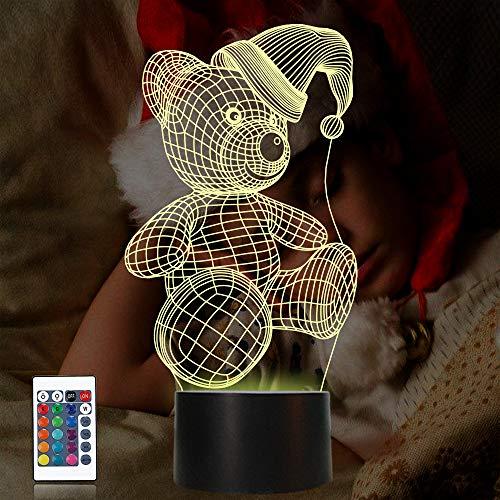 CooPark oso lámpara 3d, luz de noche LED con 16...