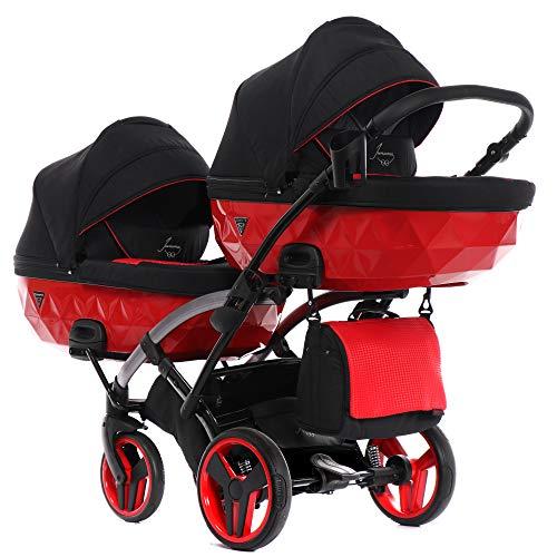 Junama Duo Slim Kinderwagen Zwillingswagen Geschwisterwagen by Lux4kids Red Diamond SLine 01 2in1 ohne Babyschale