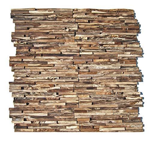 HO-M-006-1 Holzpaneele Teak-Holz Wandverblender auf Netz Wanddesign Holzwand - Fliesen Lager Verkauf Stein-mosaik Herne NRW