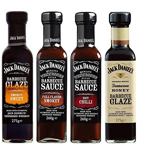Salsicce barbecue BBQ di Jack Daniel, Tennessee Honey Barbecue Glass, Smokey Sweet, Hot Chilli, 4 Pack (2x275g + 2x260g)