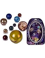 Out of the Blue Glas-Murmeln system słoneczny / gra na świątki, w kolorach naszej planety i słońca
