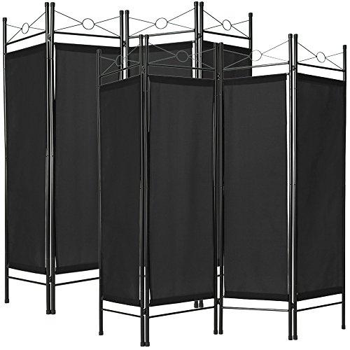 TecTake 2x Raumteiler Trennwand Paravent spanische Wand 4tlg  180x160cm - diverse Farben und Mengen - (2x Schwarz   Nr. 401832)