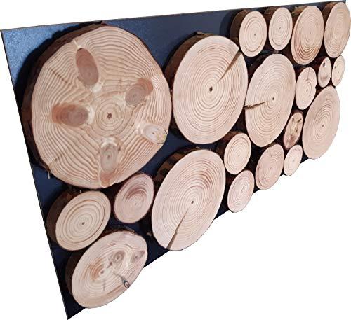 Holz Wandpaneele 2x (38x76cm) Natur Wandpaneel aus geölten Kiefernholzscheiben | Wanddeko im rustikalen Stil
