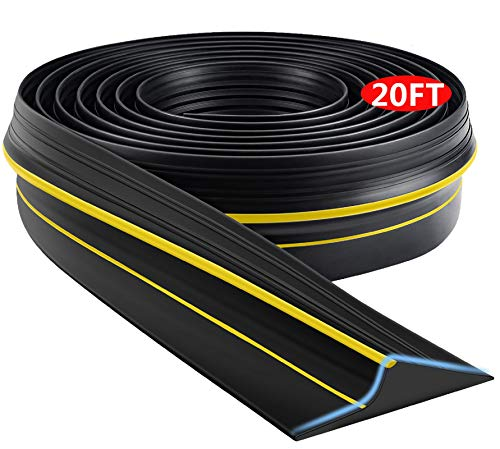 Universal Garage Door Threshold Seal Strip, Bottom Weather Stripping Replacement Rubber Waterproof 20 FT Length