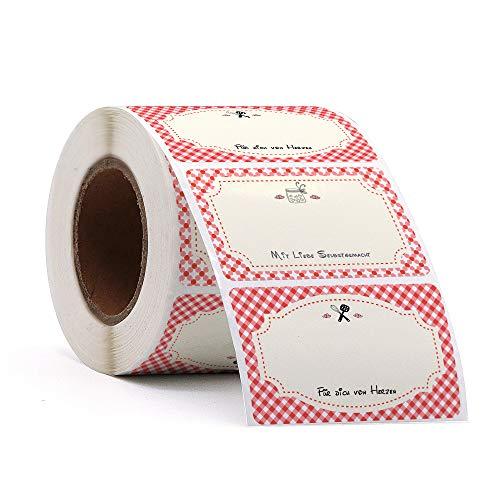 500 Etiketten Selbstklebend Klassisch Marmelade Haushaltsetiketten zum Beschriften 50x50 mm von Sinoest Klebeetiketten Aufkleber für Küche Hochzeit Weihnachten Geschenk Flaschen (Rechteck)