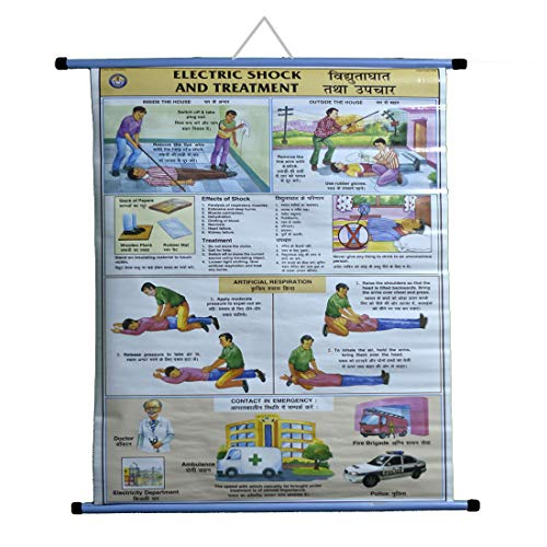 CRAFTWAFT ROLLUP CHART OF ELECTRIC SHOCK & TREATMENT (WALL HANGING,PIPE MOUNTED)
