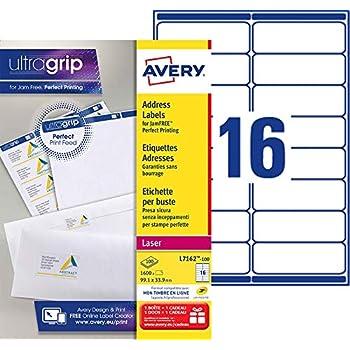Avery 1600 Etiquettes Autocollantes - 99,1x33,9mm Impression Laser L7162 Blanc 16 par Feuille