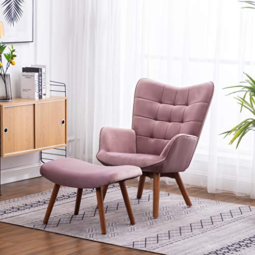 Roundhill Furniture Leiria Contemporary Silky Velvet Tufted Accent Chair with Ottoman, Mauve