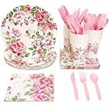 Floral Party Supplies, Paper Plates, Napkins, Cups and Plastic Cutlery...