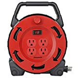 DEWENWILS Extension Cord Reel with 30 FT Power Cord, Hand Wind Retractable, 16/3 AWG SJTW, 4 Grounded Outlets, 13 Amp Circuit Breaker, Red Black, UL Listed