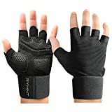 Wrist Wrap Weight Lifting Workout Gloves with Vented Cushioned Palm & Extra Grip for Men Women Gym,Weightlifting,Crossfit Training,Fitness,Exercise,WODs,Pullups.Black-Medium