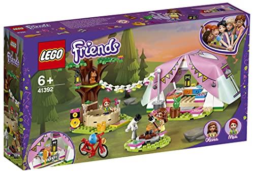 LEGO 41392 Friends Glamping en la Naturaleza Juguete de Construcción para Niños, Camping con Mini Muñecas y Tienda de Campaña