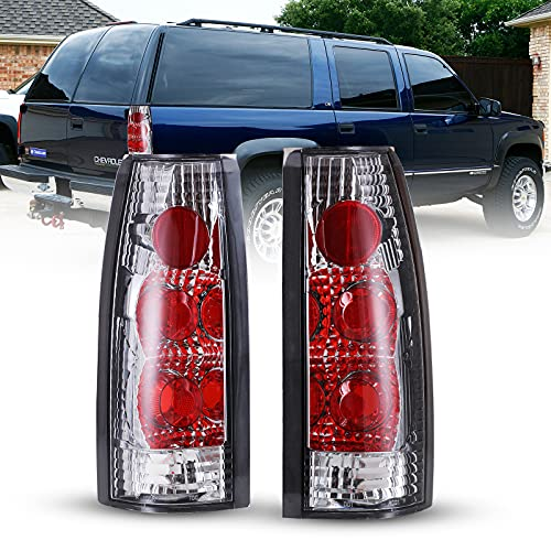 Tail Light Assembly for 1988-1998 Chevy C&K and GMC C&K and 1992-1999 Chevy Suburban and 1995-1999 Chevy Tahoe and 1992-1994 Chevy Blazer, WOLFSTORM Tail Light Assembly,1 Pair(Clear Lens)