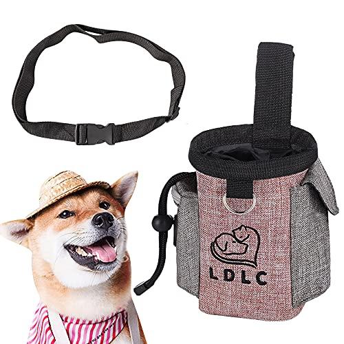 LONXAN Futterbeutel für Hunde, Tragbare Futtertasche mit Eingebautem Poop Tasche Spender, Praktischer Leckerlibeutel, für Hunde Hundetraining und Futteraufbewahrung
