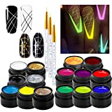 15 Color Luminous Spider Gel, UV Gel Nail Polish with 2 Nail Art Line Pen DIY Glow in The Dark Nail Art Drawing Gel for Line Neon Fluorescent Effect Manicure Decorations for Halloween Party Dance