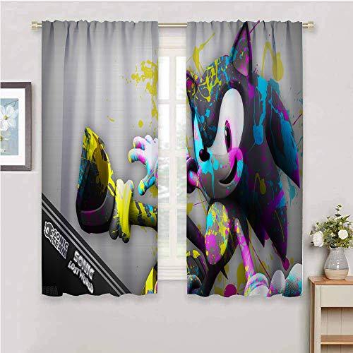 Zmcongz Black Out Cortinas para dormitorio sónicas cortinas para niños, juego de 2 paneles de colas sónicas (personaje) nudillos de 132 x 214 cm, Sonic Generations