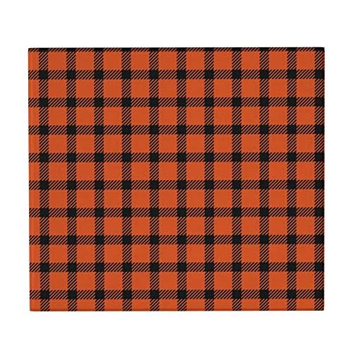 Mini tapete de secado a cuadros naranja y negro para mostrador de cocina, antideslizante, súper absorbente, escurridor de platos para el hogar, soporte para placa de 46 x 41 cm