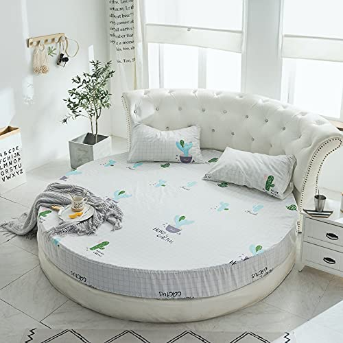 YDyun Protector de colchón/Cubre colchón Acolchado, Ajustable y antiácaros. Protector de sábanas Redondas