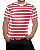 Islander Fashions Hombre de Manga Corta con Cuello Redondo Rayas Camiseta Adultos Fancy Party Wear Camiseta Top Rayas Rojas y Blancas Grandes