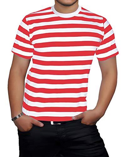Islander Fashions Hombre de Manga Corta con Cuello Redondo Rayas Camiseta Adultos Fancy Party Wear tee Top