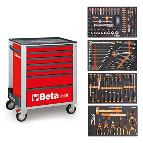BETA Easy Werkzeugwagen mit 7 Schubladen mit 210 teiligem Werkzeugsortiment, 2400S-O7/E-M (Rot), 024002297