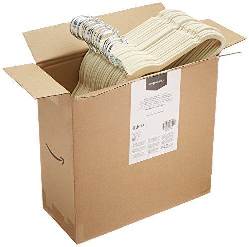 AmazonBasics - Perchas de terciopelo para trajes - Paquete de 50, Marfil